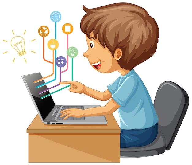 Мальчик использует портативный компьютер для дистанционного обучения онлайн