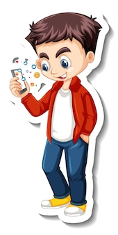 携帯電話の漫画のキャラクターステッカーを使用している少年
