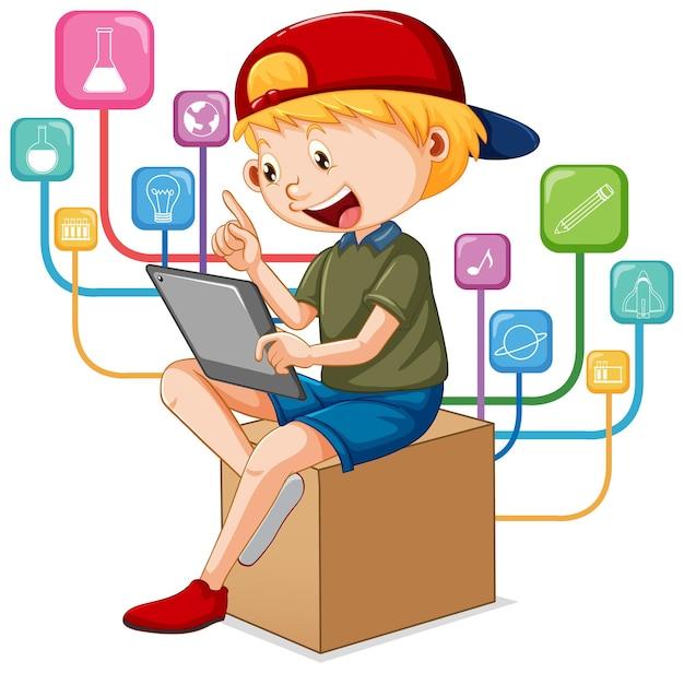 온라인 원격 학습을 위해 태블릿을 사용하는 소년 무료 벡터