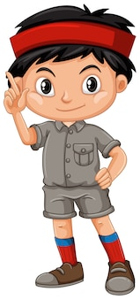A boy waving wearing a safari outfit