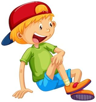 座っているポーズの漫画のキャラクターでキャップをかぶっている少年