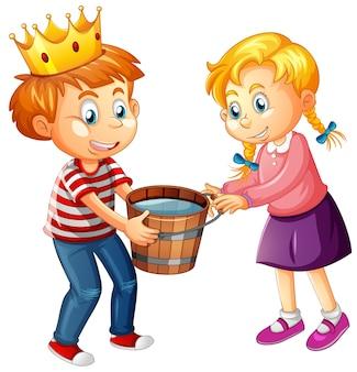 Мальчик в короне с милой девушкой на белом фоне