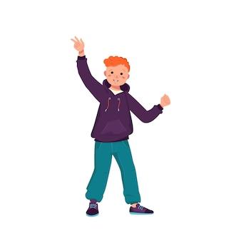 빨간 곱슬머리에 주근깨가 있는 재킷, 청바지, 운동화를 신고 웃는 소년. 행복한 아이가 춤을 추고 있습니다. 캐주얼 옷에 얼굴을 가진 십 대입니다. 세계 국제 어린이의 날. 벡터 일러스트 레이 션