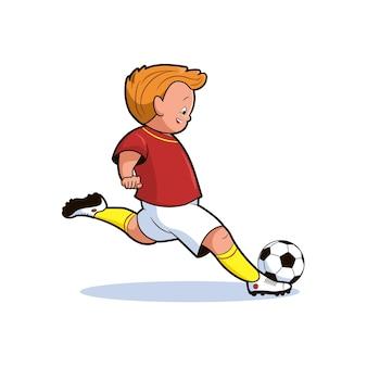 소년 축구 선수는 만화 스타일의 점프 벡터 일러스트 레이 션에서 공을 걷어차