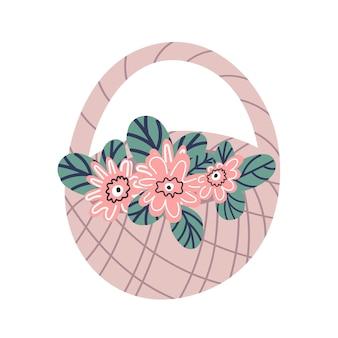 Плетеная корзина с розовыми цветами изолирована на белом фоне