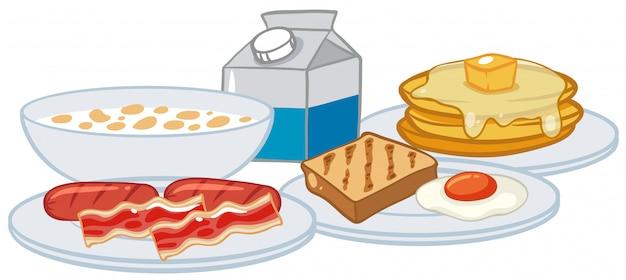 白い背景に朝食セット