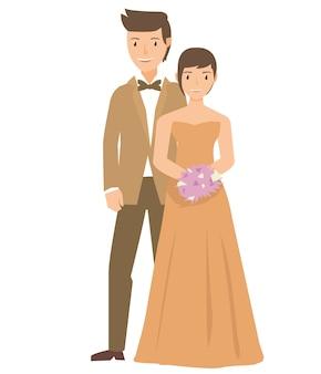 그들의 결혼식에서 드레스를 입고 신부와 그의 부부