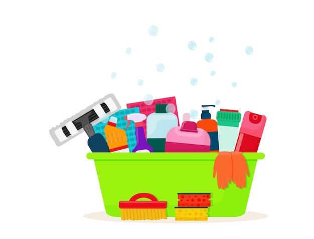 Яркий таз с чистящими средствами, моющими средствами, губками и тряпками. вектор