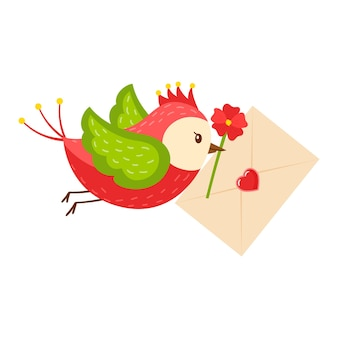 明るい漫画の鳥は、くちばしに文字のハートと赤い花を運びます