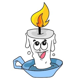 행복한 미소가 있는 밝은 만화 촛불, 낙서는 카와이를 그립니다. 벡터 일러스트 레이 션 아트