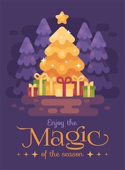 夜の森の中で贈り物をする明るいクリスマスツリー