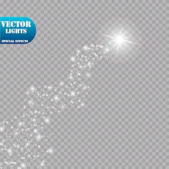 明るい彗星。流れ星。グローライト効果。図