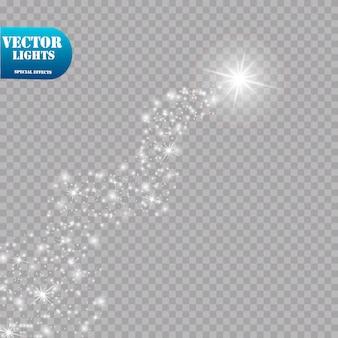 와 함께 밝은 혜성. 별똥별. 광선 효과. 삽화