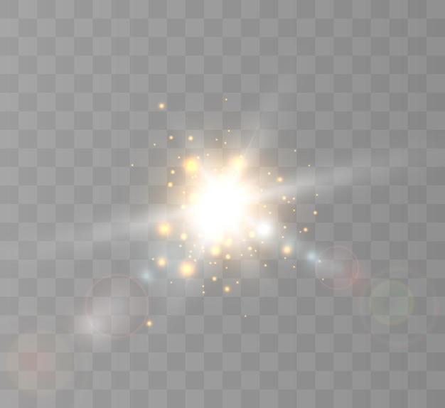 Яркая вспышка света, мерцающая изолирована