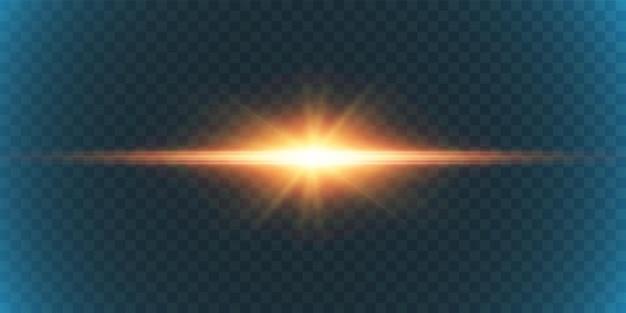 Яркая вспышка света на прозрачном фоне для иллюстраций и фонов.