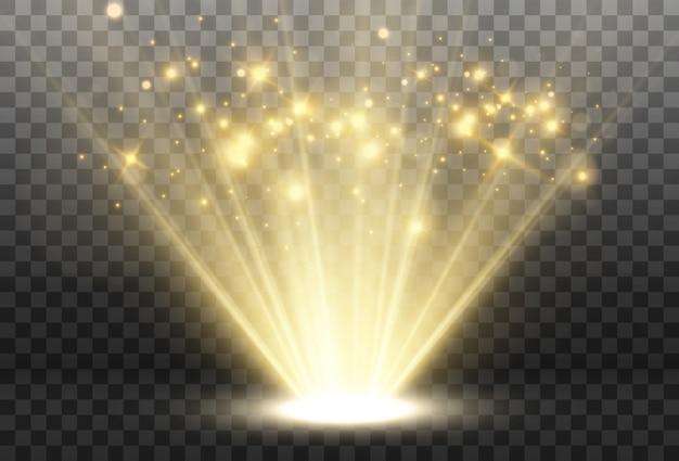 Яркий свет, сияющий на прозрачном фоне. световые лучи, исходящие от источника света.