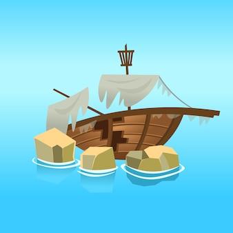 Разбитый корабль в море. иллюстрация.