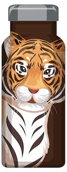 Коричневая термос с рисунком тигра