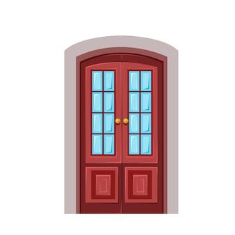 Коричневая деревянная дверь в простом стиле векторные иллюстрации в мультяшном стиле для детей