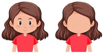 ブルネットの髪の女性キャラクター