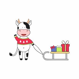 스웨터를 입은 황소와 선물이 달린 썰매. 2021년 황소의 상징. 새해와 크리스마스를 위한 벡터 어린이 만화 삽화. 엽서 또는 스티커의 디자인 요소입니다.