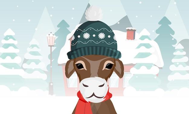 Бык в теплой зимней шапке на фоне зимнего леса. подходит для открыток и книг. вектор