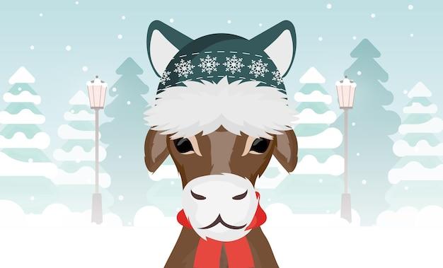 Бык в теплой зимней шапке на фоне зимнего леса. вектор