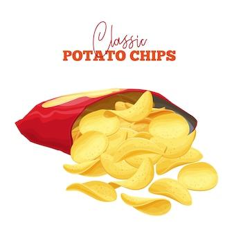 Из упаковки высыпалась гроздь картофельных чипсов. хрустящий снек картофель.