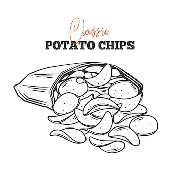 Пучка картофельных чипсов высыпалась из контура упаковки