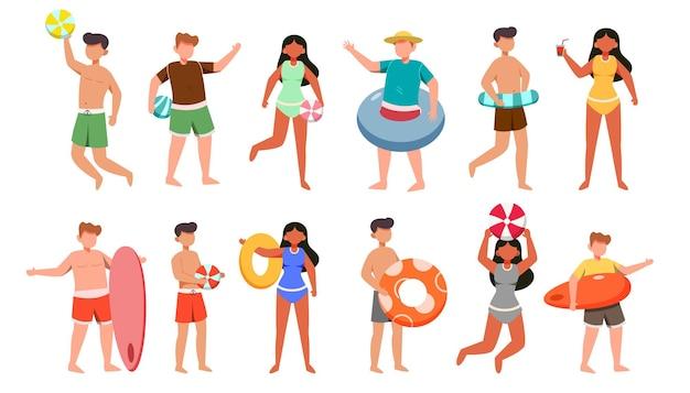 水着とアセット付きのポーズの12人の男性と女性のキャラクターのバンドル