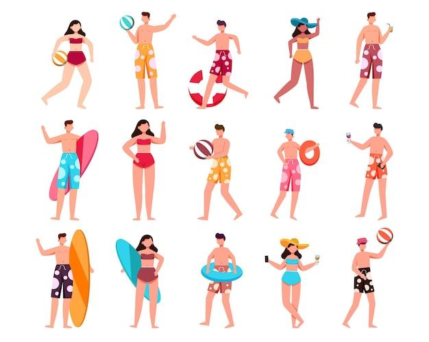 水着とアセット付きのポーズの15人の男性と女性のキャラクターのバンドル