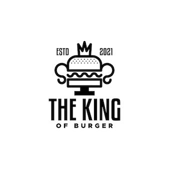 上部に王冠が付いたトロフィーを形成するハンバーガーは、ハンバーガーに関連するあらゆるビジネスに適しています