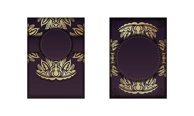 타이포그래피를 위해 준비된 금 장신구에 만다라가 있는 버건디 카드.