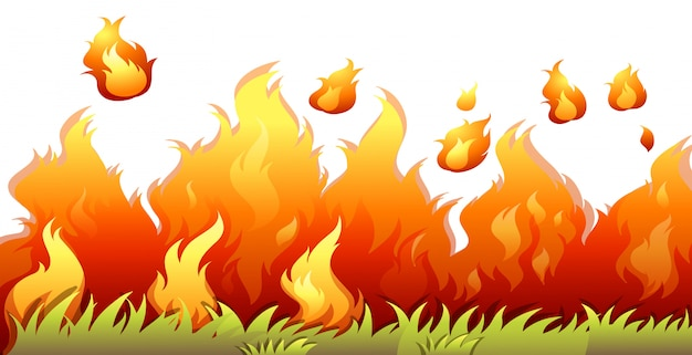 Пламя лесного пожара на белом фоне