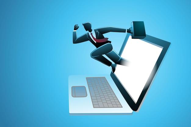 Бизнесмен, несущий чемодан, появляется с экрана ноутбука