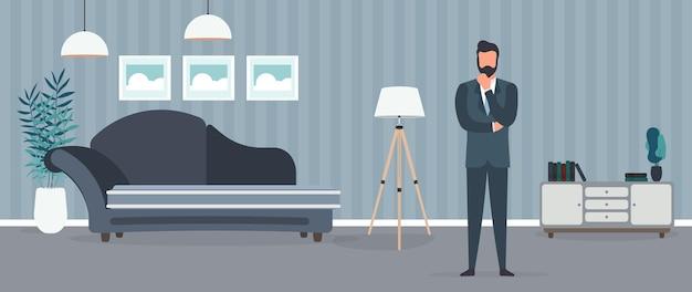 비즈니스 정장을 입은 사업가가 사무실에 앉아 있다. 신중하게 포즈를 취하는 사업가. 벡터.