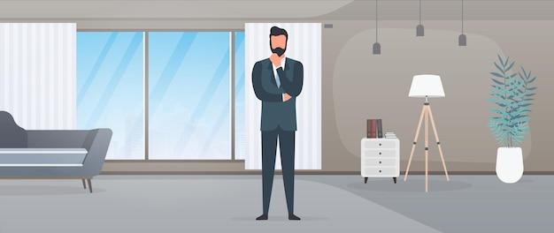 비즈니스 정장을 입은 사업가가 사무실에 앉아 있습니다. 신중하게 포즈를 취하는 사업가. 벡터.