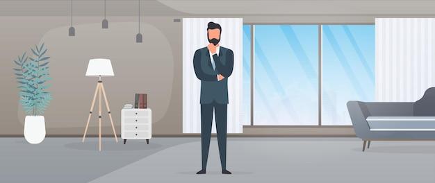 ビジネススーツを着たビジネスマンが彼のオフィスに座っています。思慮深くポーズをとるビジネスマン。ベクター。