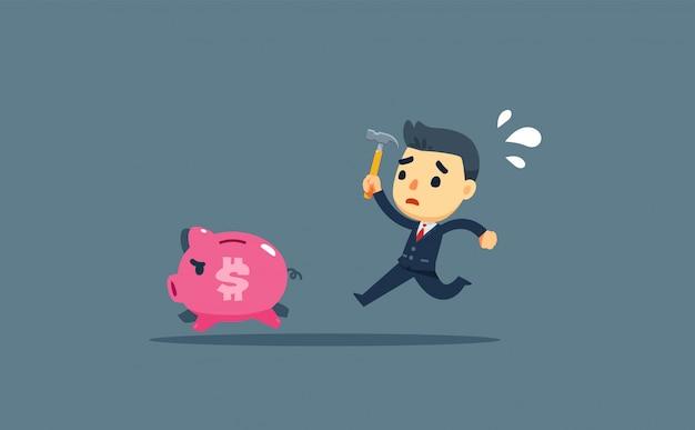 ビジネスマンがハンマーを押しながら豚を追いかけています。