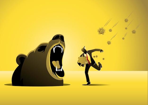 Бизнесмен убегает от возбудителей вируса covid19 вместо того, чтобы встретиться с медвежьими клыками