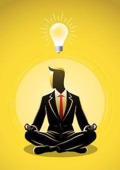 蓮華座瞑想とコンセプトイラストの上の電球のアイデアに座っているビジネスマン