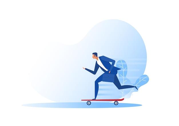Бизнесмен, скейтбординг, концепция быстрого бизнеса инноваций