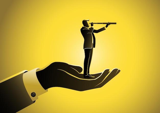 巨大な手のひらの上に立って望遠鏡を通して見ているビジネスマン。ビジネスコンセプトイラスト