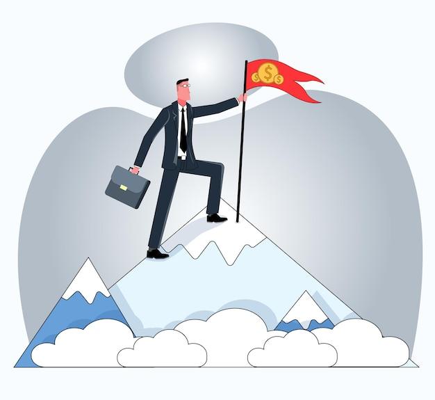 사업가가 산 꼭대기에 서서 동전으로 깃발을 들고 있다