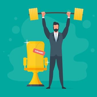ビジネスマンはコインの山を持って立ち、バーベルを上げます。バーベルとスーツを着た男。成功するビジネスと収益の成長の概念。ベクター。
