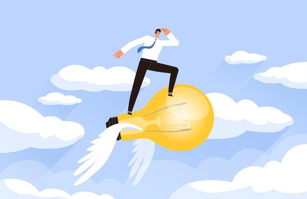 ビジネスマンは電球で空に連れて行きます。雲を背景に成功するビジネスアイデアの概念。漫画フラット。白い背景で隔離。