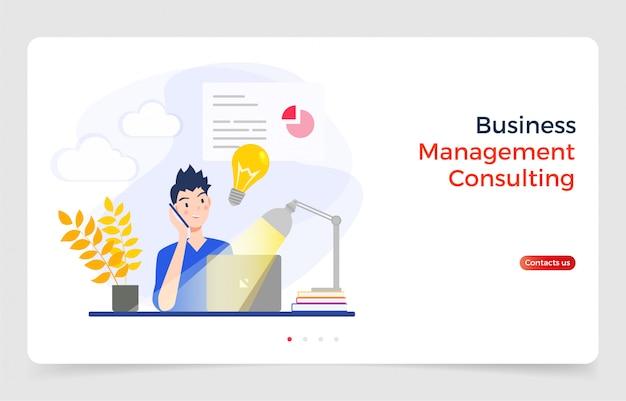 電話で話しているとラップトップ、ウェブサイトやランディングページに使用されるデザインコンセプトに取り組んでいるビジネスマン。