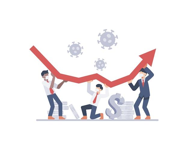 ビジネスマンはビジネスまたは経済チャートの矢印を上げてコロナウイルスのパンデミックのイラストと戦おうとします