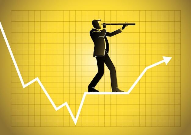 グラフィックチャートで望遠鏡を使用しているビジネスマン。ビジネスにおける予測、予測、成功、計画の概念