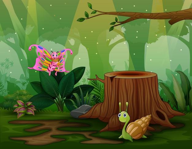 自然の中で蝶とカタツムリ